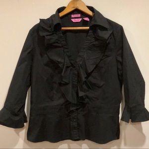 Black Ruffle V-Neck Stretch Shirt Blouse XL